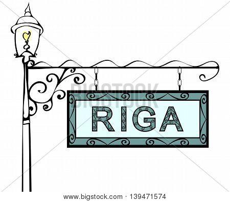 Riga retro vintage pointer lamppost. Riga Capital Latvia travel tourism.
