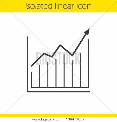 Growth chart linear icon. Diagram with curve thin line illustration. Income increase contour symbol. Vector isolated outline drawing
