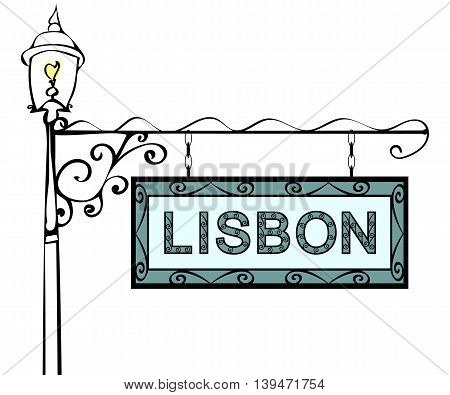 Lisbon retro vintage lamppost pointer. Lisbon Capital Portugal tourism travel.