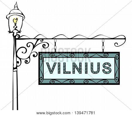 Vilnius retro vintage lamppost pointer. Vilnius Capital Lithuania tourism travel.
