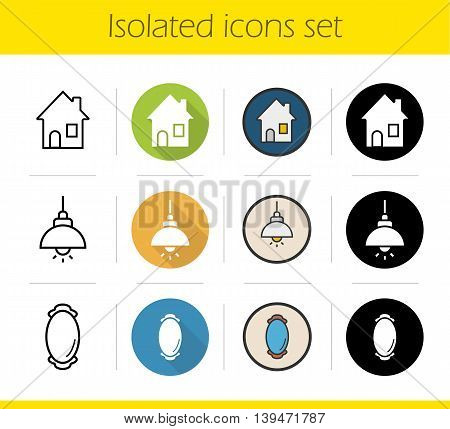 Household items icons set. Flat design, linear, black and color styles. House, ceiling lamp and framed wall mirror. Isolated vector illustrations