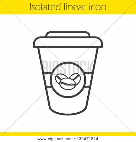 Takeaway coffee cup linear icon. Thin line illustration. Coffee to go contour symbol. Vector isolated outline drawing