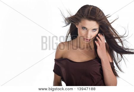 Glamour Portrait of sexy woman on white background