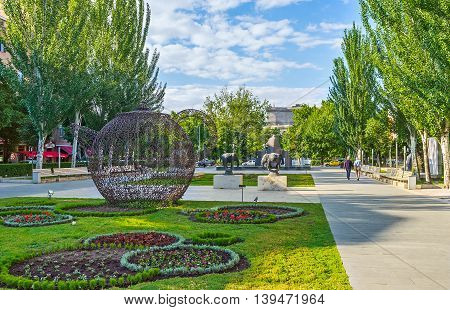 YEREVAN ARMENIA - MAY 29 2016: The Cafesjian Art Center represents the modern art exhibition in sculpture garden at Tamanyan street on May 29 in Yerevan.