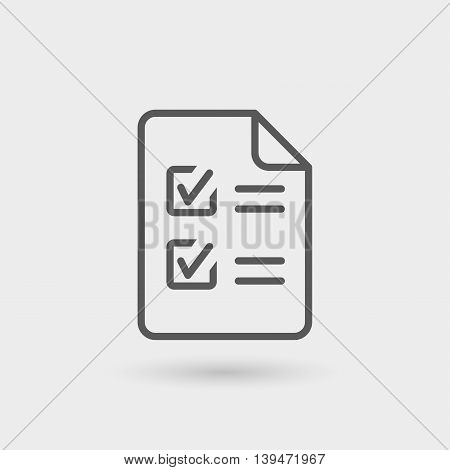 purchase order thin line icon isolated with shadow