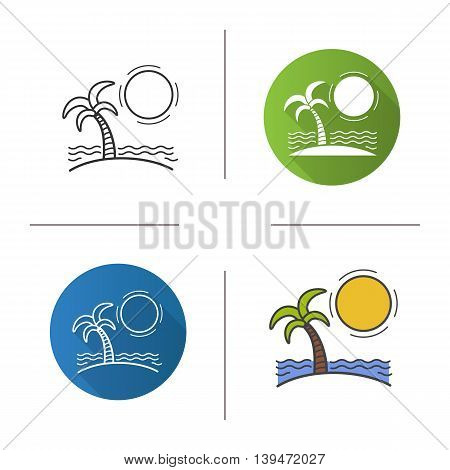 Island icon. Flat design, linear and color styles. Seashore. Beach isolated vector illustrations