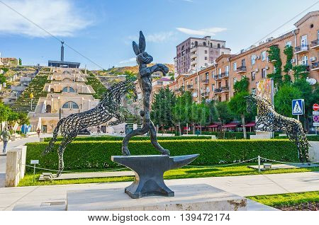 YEREVAN ARMENIA - MAY 29 2016: The modern art works of Cafesjian Art Center decorated the garden at Tamanyan street on May 29 in Yerevan.