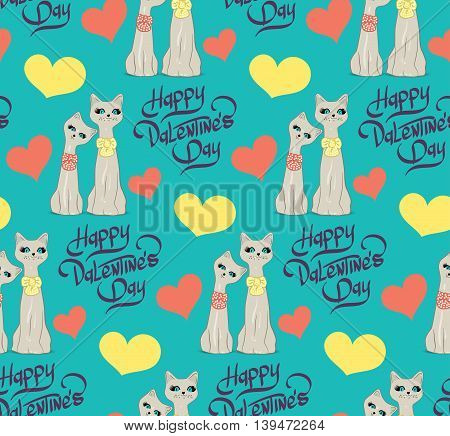 Seamless pattern with lovers cartoon cats hearts and lettering hand