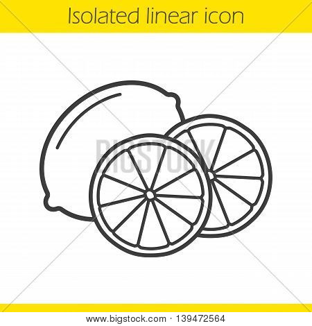 Lemon linear icon. Halved tropical fruit. Citrus thin line illustration. Lime contour symbol. Vector isolated outline drawing