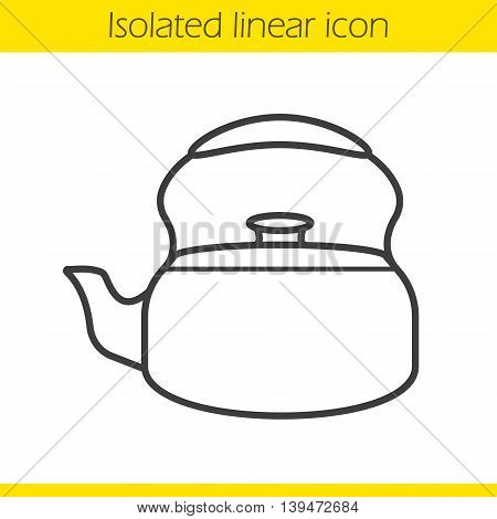 Kettle linear icon. Thin line illustration. Contour symbol. Vector isolated outline drawing