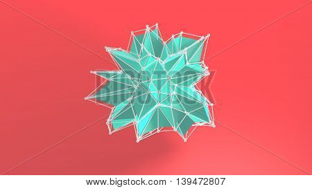 3d render of abstract lowpoly geometry shape. For graphic design.