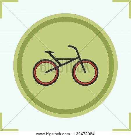 Bike color icon. Bicycle shop emblem. Cycling symbol. Vector isolated illustration