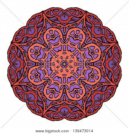 Circular stained glass mandala. Round purple doodle flower pattern for greeting cards and your creativity