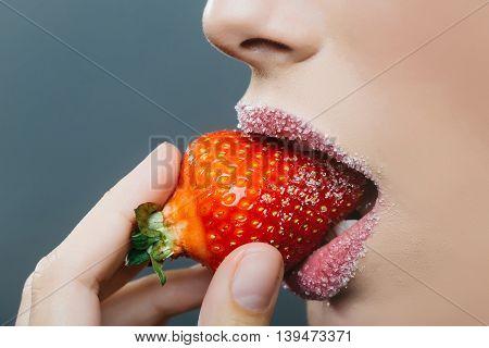Female Sugar Lips Bite Red Strawberry