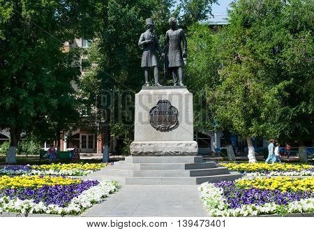 Orenburg Russia -June 23 2016. Monument of Alexandr Pushkin and Vladimir Dal in Orenburg city Russia Open in august 1998. sculptor Petina.