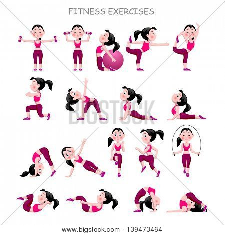 Cartoon girl in pink suit doing fitness exercises isolated on white background