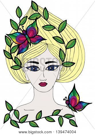 Multicolor portrait of a beautiful girl with butterfly and leaves on the long hair. Art element for adult coloring book page design.