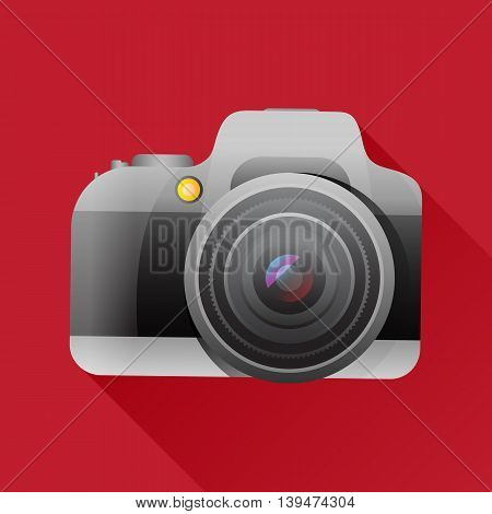 Flat camera icon with long shadow. Vector illustration.