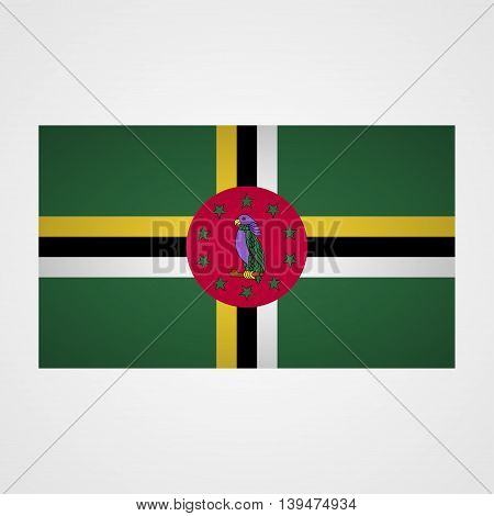 Dominica flag on a gray background. Vector illustration
