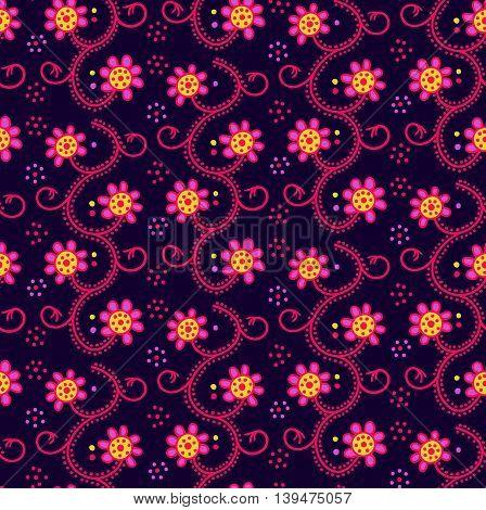 Seamless flower background. Hand Drawn vector pattern.