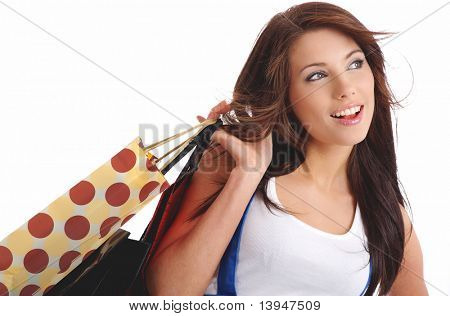 happy Woman Shopping. isolated over white background