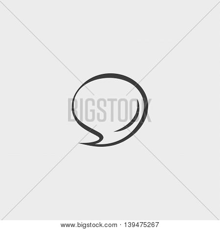Speech bubble comic icon in a flat design in black color. Vector illustration eps10