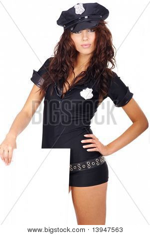 sexy girl in police uniform holding white board