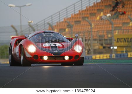 Le Mans, France, July 10, 2016 : Ancient Racing Car Races During Le Mans Classic On The Circuit Of T