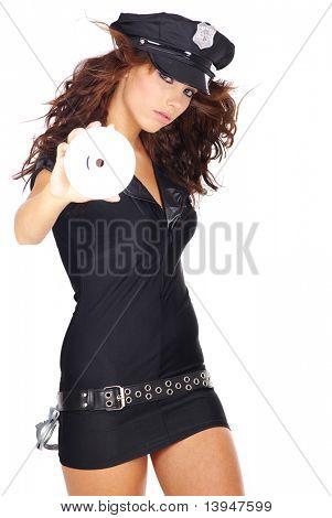 Sexy girl in police uniform holding CD,  DVD  disk