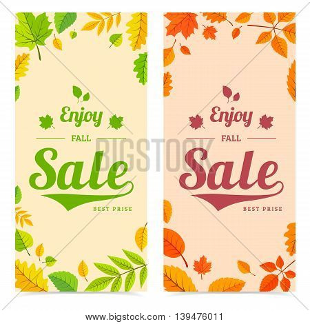 Fall season banners. Vector illustration easy to edit.