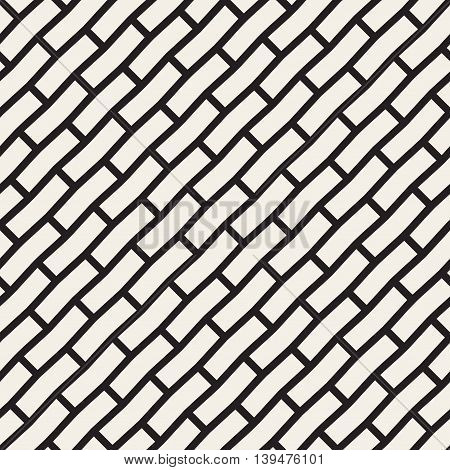 Vector Seamless Black And White Brick Pavement Diagonal Lines Pattern. Abstract Geometric Background Design