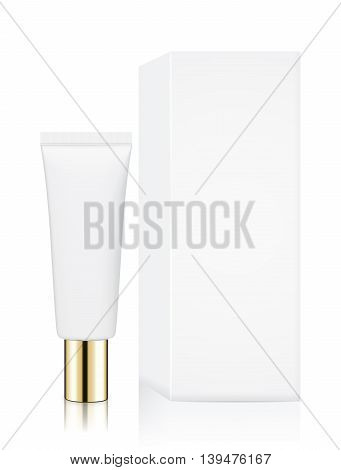Tube container small size with gold cap and white box isolated on white background, Ideal for mock up packaging.