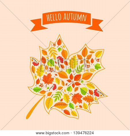 Autumn welcoming background. Vector illustration easy to edit.