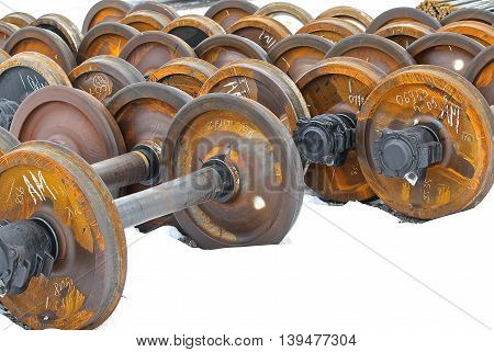Railcar wheels on the axles of the wheelset as the element
