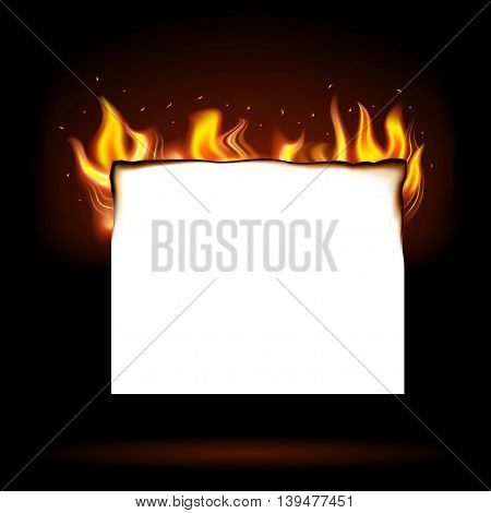 burning paper isolated on a white background