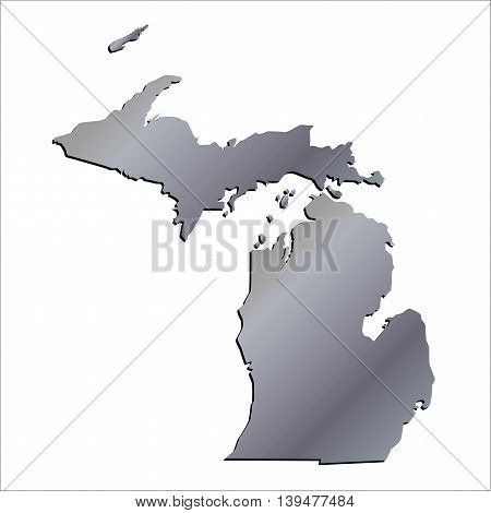 3D Michigan (USA) Aluminium outline map with shadow