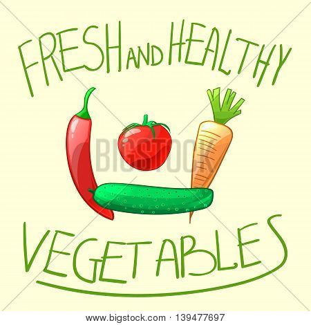Fresh ripe and juicy vegetables. Tomato cucumber pepper and carrot. Cartoon style vector illustration