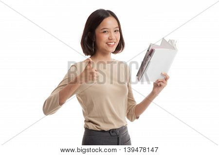 Young Asian Business Woman Thumbs Up With A Book