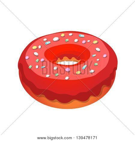 Glazed ring donut, illustration isolated on white