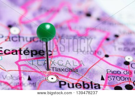 Tlaxcala pinned on a map of Mexico