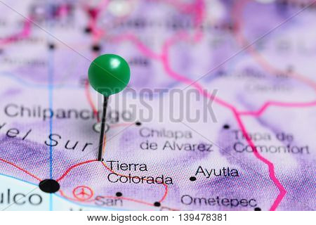 Tierra Colorada pinned on a map of Mexico