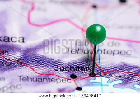 Juchitan pinned on a map of Mexico