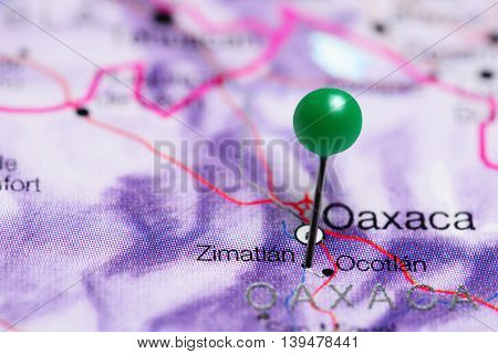 Zimatlan pinned on a map of Mexico