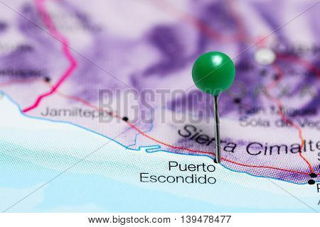 Puerto Escondido pinned on a map of Mexico