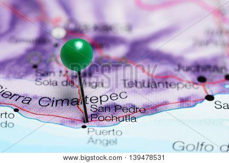 San Pedro Pochutla pinned on a map of Mexico