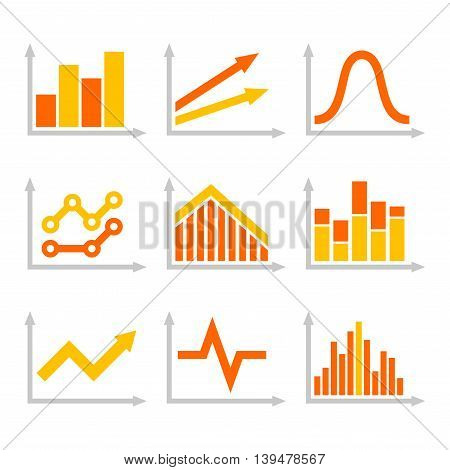 Color Graph Chart Icons Set on White Background. Vector illustration