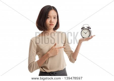 Angry Young Asian Woman Point To A Clock