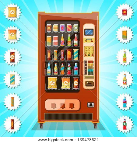 Vending machine with snacks and drinks ,