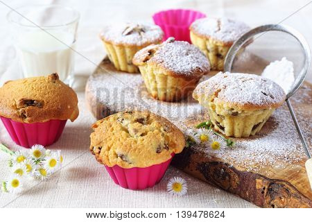 Fresh Raisin muffin and milk for breakfast