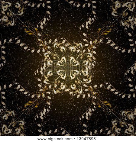 Vintage pattern on black background with golden elements.